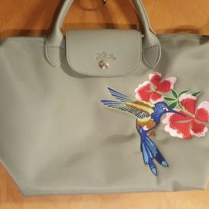 Longchamp Le Pliage Embroidered Flower & Bird Tote